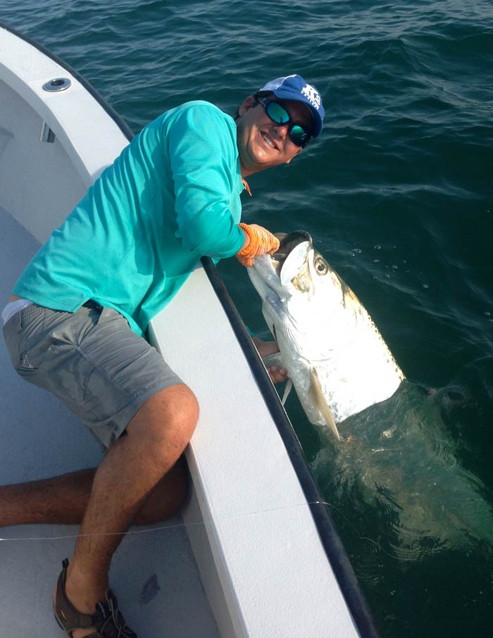 Jumping tarpon off bow in Boca Grande
